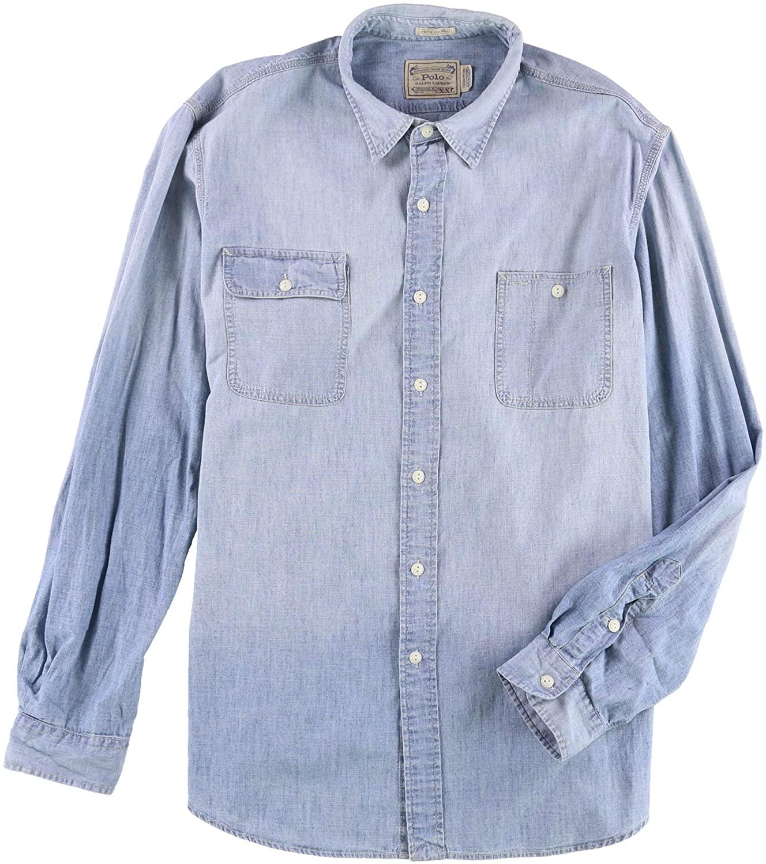 Ralph Lauren Mens Iconic Dungaree Workshirt Button Up Shirt Indigo S