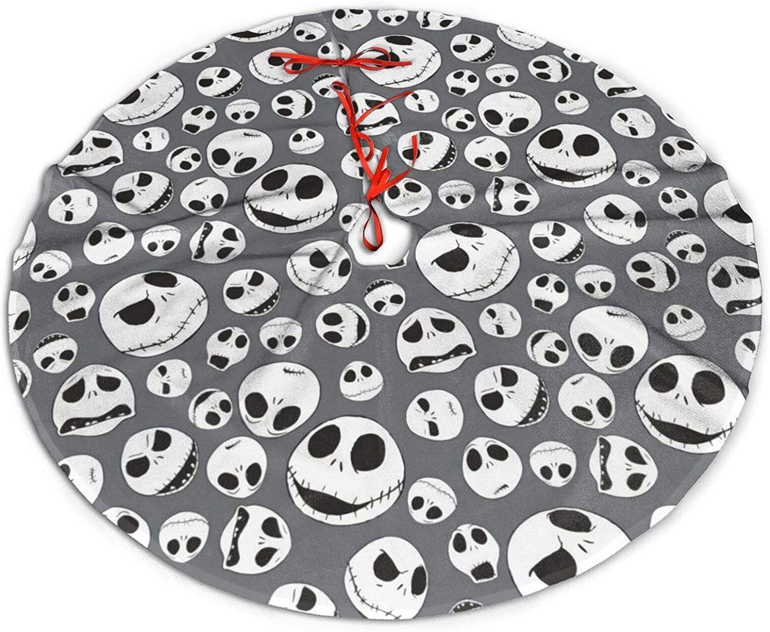 Newbealer The-Nightmare-Before-Christmas Tree Skirt for Xmas Holiday Party Supplies, Christmas Large Tree Mat Decorations, New Year House Decoration with Reindeer and Santa