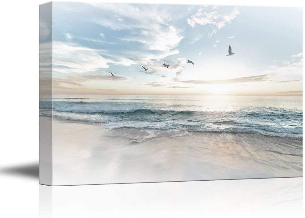 wall26 Canvas Wall Art - Watercolor Style Waves on The Beach with Sea Birds - Giclee Print Gallery Wrap Modern Home Art Ready to Hang - 32