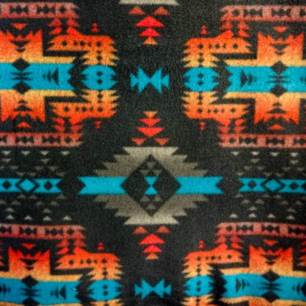 """Pico Textiles Aztec Indian Canyon Black Indian Print Anti Pill Fleece Fabric, 60"""" Inches Wide – Sold by The Yard (FB)"""