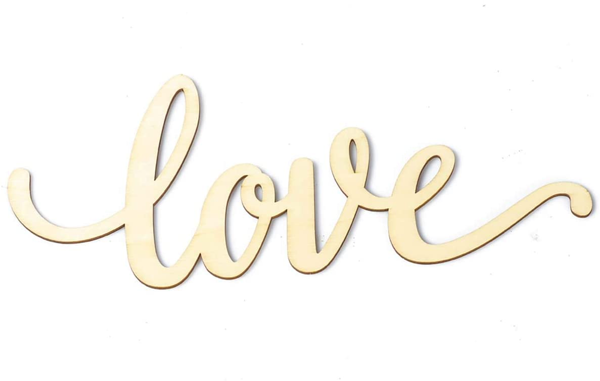 GAKA Love Wood Sign Home Décor Wall Art Unfinished Ornaments 11.8in x 4.9in x 0.16in,Gift for Wedding,Thanksgiving,Home Door Decorations