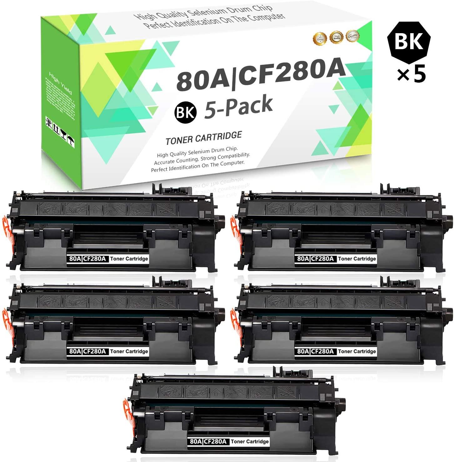 Compatible 80A   CF280A Toner Cartridge (Black,5-Pack) Replacement for HP Laserjet Pro 400 M401dn M401dne M401dw M401n MFP M425dn Series Printers,Sold by TmallToner.