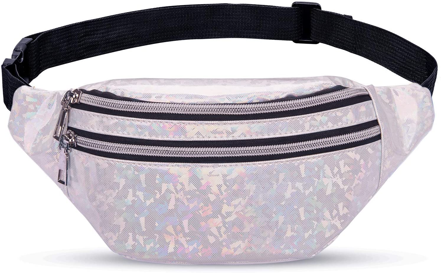 LIVACASA Fanny Packs for Women Girls Holographic Fanny Pack Shiny Fashinable Cute Stylish Waist Pack Bag for Women Kids Party Festival