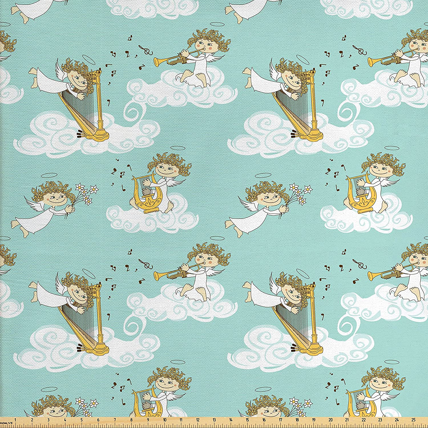 Ambesonne Angel Fabric by The Yard, Angels Playing Harp in Sky Clouds Myth Folk Lyre Folk Music Band Joy, Decorative Fabric for Upholstery and Home Accents, Seafoam White Earth Yellow