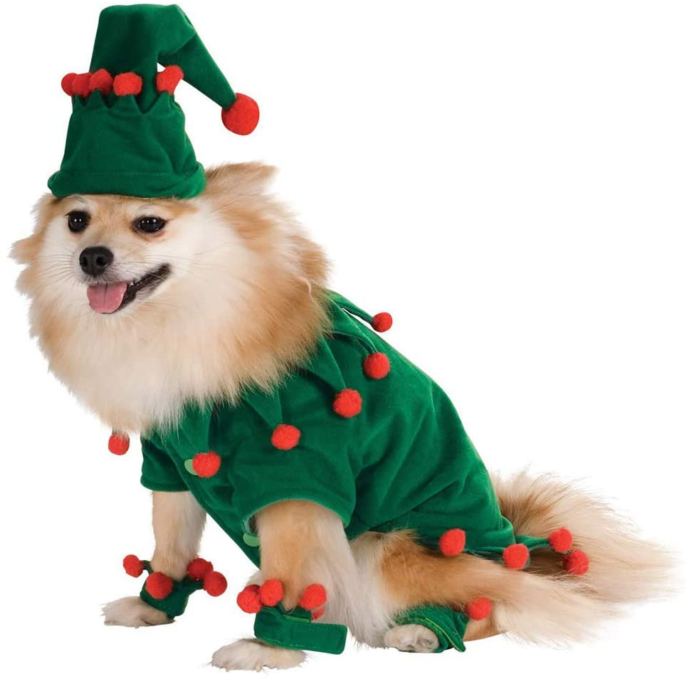 RollingBronze Pet Clothes Christmas Costumes Set Pet Elf Outfit Role Playing Clothes Set Dog Accessories Puppy Gifts