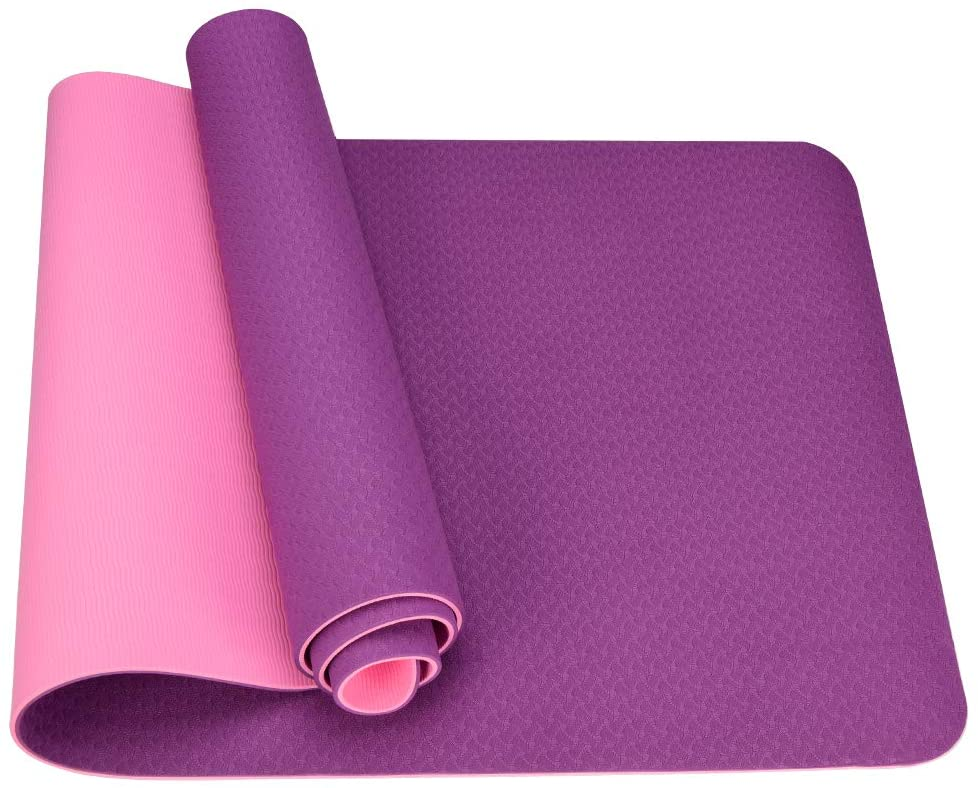 LVYI Yoga Mat,Eco Friendly Fitness TPE Non-Slip,Carrying Strap Pro Yoga Mats for,Workout Mats for Home Pilates and Floor Exercises(72×24×1/4 2color