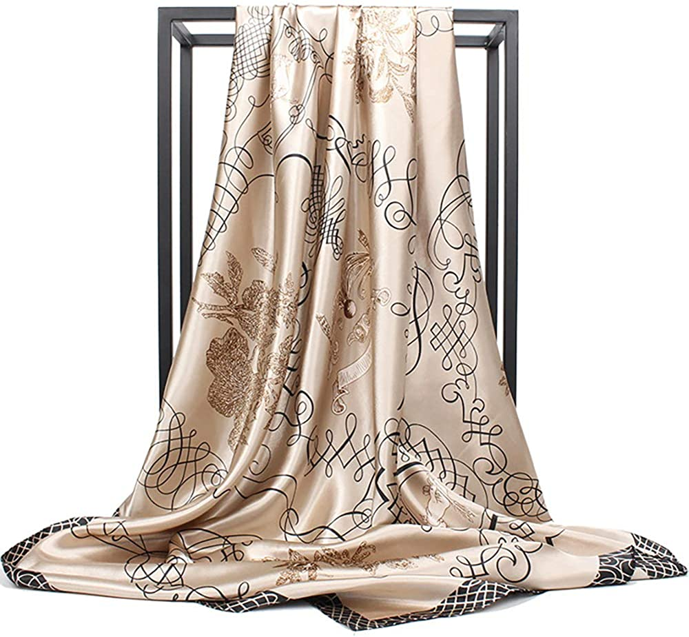 """35"""" Women's Satin Scarf Large Square Hair Scarves for Sleeping – Lightweight Headscarf & Wraps"""