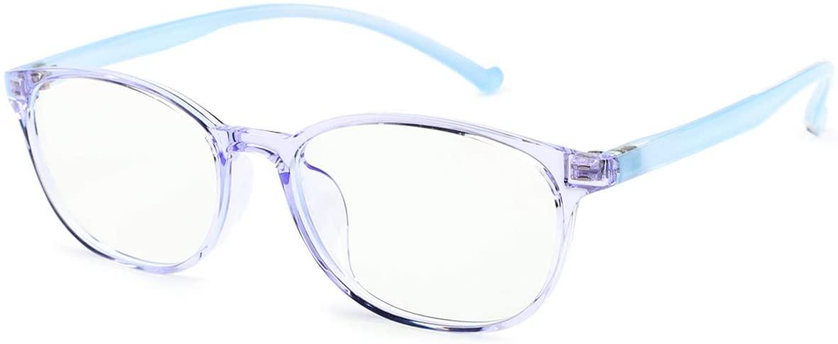 XYUXRU Blue Light Blocking Glasses for Kids, Computer Gaming TV Glasses Anti Glare & Eyestrain & Blu-ray Filter Boys Girls Age 3-12 (Blue)