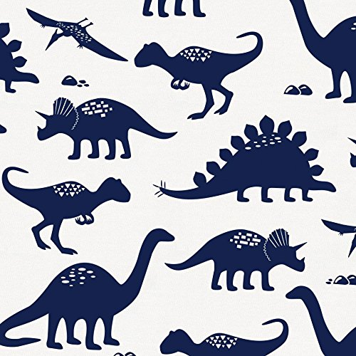 Carousel Designs Navy Dinosaurs Fabric by The Yard - Organic 100% Cotton