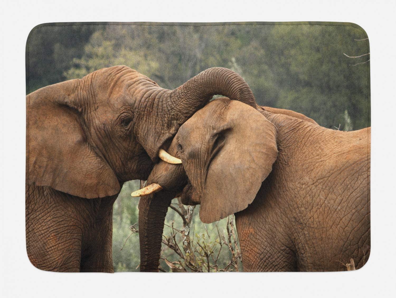 "Ambesonne Safari Bath Mat, 2 Wild Savannah Elephants Wrestling Nature South Animals Photo, Plush Bathroom Decor Mat with Non Slip Backing, 29.5"" X 17.5"", Brown Green"
