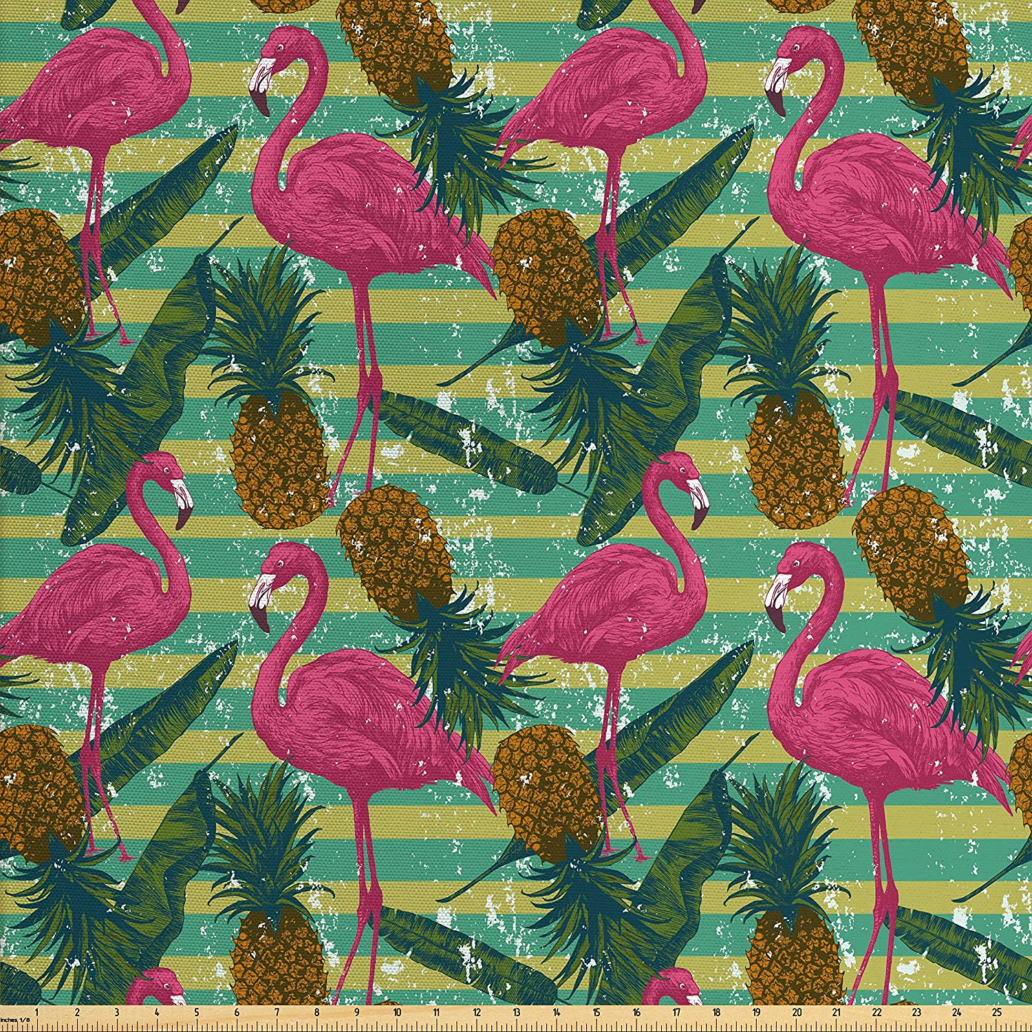 Ambesonne Flamingo Fabric by The Yard, Tropical Animals on Striped Background with Pineapples Banana Leaves Grunge Look, Decorative Fabric for Upholstery and Home Accents, Multicolor