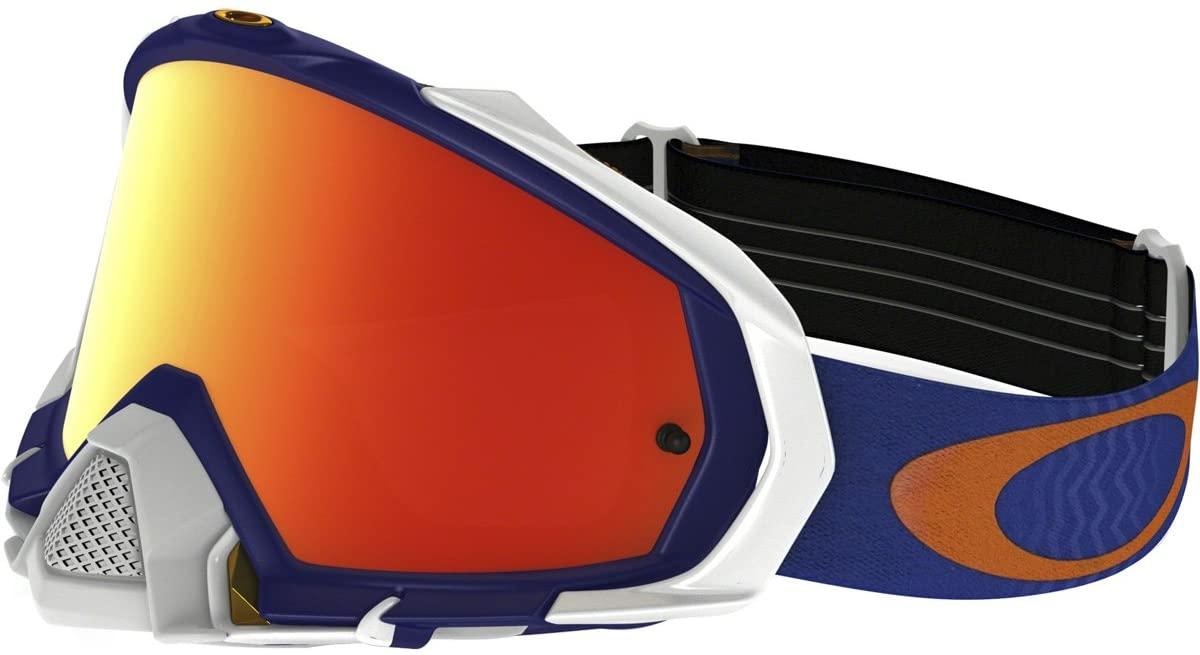 Oakley Mayhem Pro MX Shockwave Men's Dirt Motocross Motorcycle Goggles Eyewear - Blue Orange/Fire Iridium/One Size Fits All