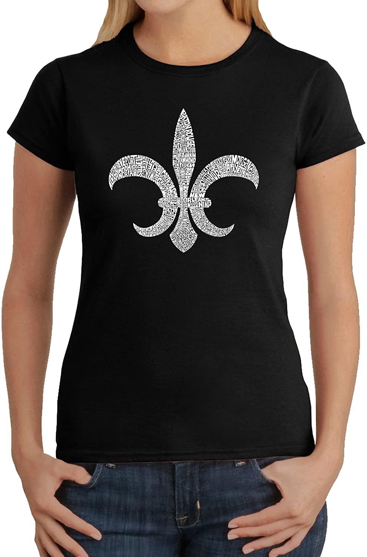 LA POP ART Women's Word Art T-Shirt - Fleur De Lis - Popular Louisiana Cities Word Art