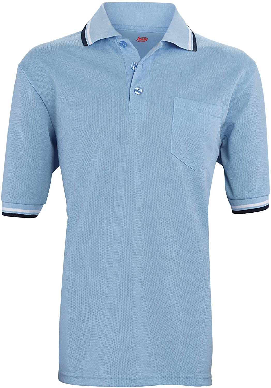 ADAMS USA Short Sleeve Baseball Umpire Shirt - Sized for Chest Protector, Powder Blue
