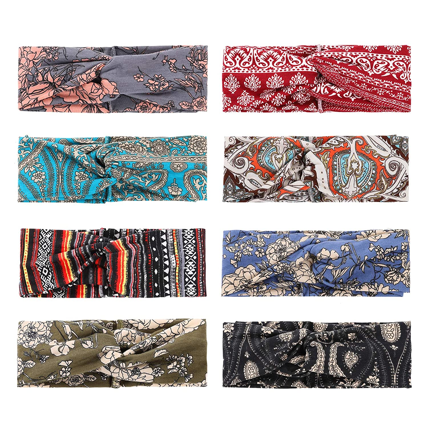8 Pack Boho Headbands for Women Girls Fashion Hair Bands for Women's Hair Wide Bohemian Knotted Yoga Headband Head Wrap Criss Cross Hair Band Elastic Accessories (Color C)