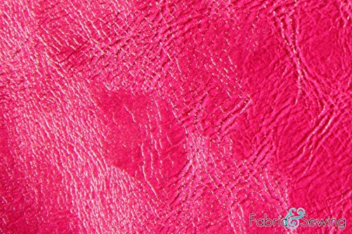 Fuschia Pink Distressed Faux Fake Leather Vinyl Fabric Polyester 54
