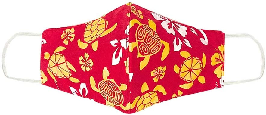 3 Layer Cloth Face Mask - Reversible Washable Reusable - Hawaiian Tropical Aloha Print Unisex (Little Turtles Red)