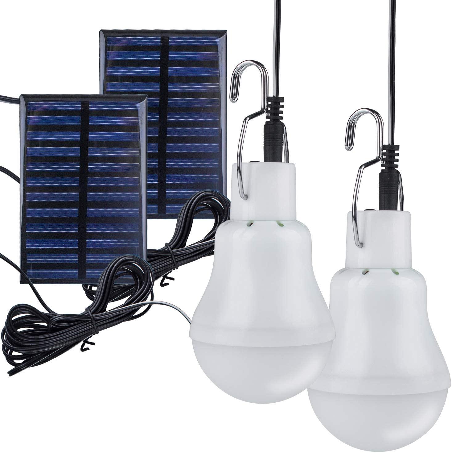 Solar Powered Led Light Bulb, TechKen Portable Lantern Lamp Spotlight Indoor Outdoor Garden Office Kitchen Reading with Solar Panel for Garden Patio Yard Hiking Camping Tent Fishing Lighting(2 Pack)