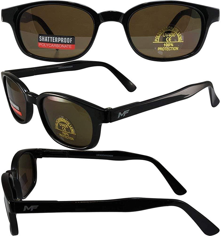 MotoFrames MF Lockdown Motorcycle Riding Sunglasses Black Frames Dark Brown Lenses