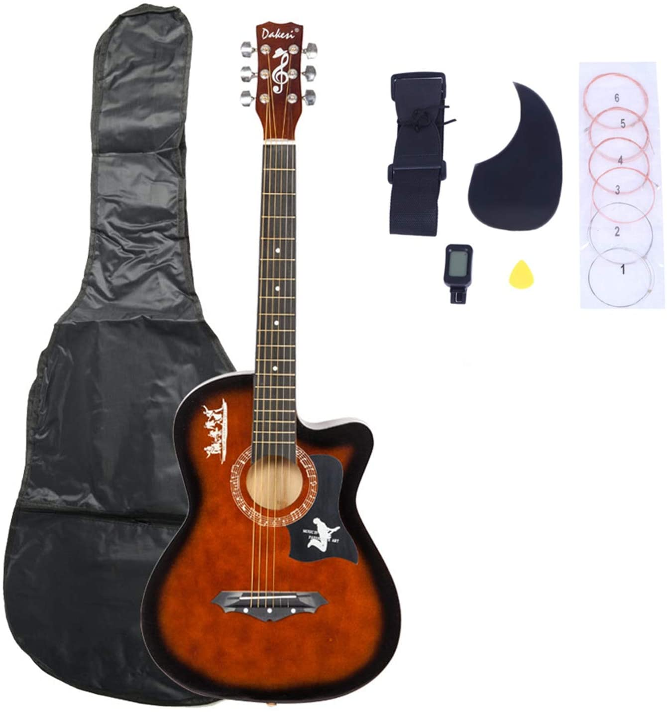 DK-38C Basswood Guitar Bag, Straps, Picks, LCD Tuner, Pickguard, String Set Coffee - Affordable & Professional Student Guitar for Beginner Starter