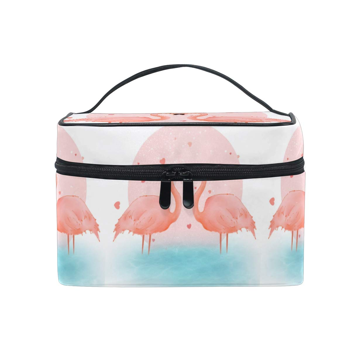 Makeup Bag Pink Flamingos Valentine's Travel Cosmetic Bags Organizer Train Case Toiletry Make Up Pouch for Womens Girls