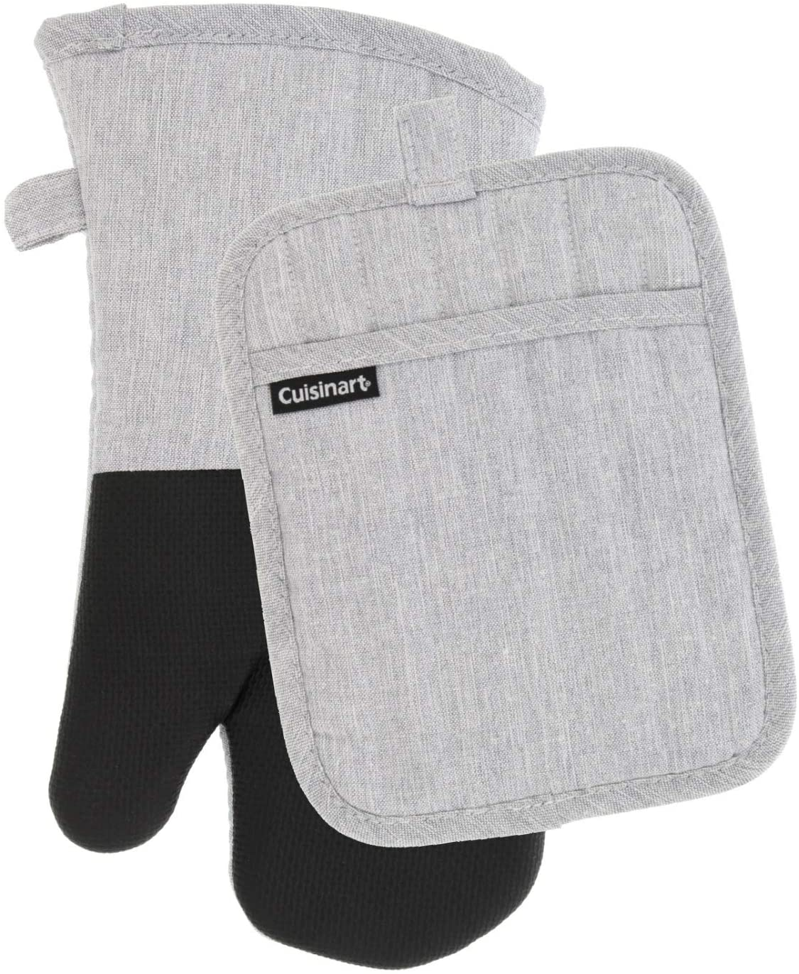 Cuisinart Chambray Neoprene Oven Mitt and Potholder Set, 2 Pack – Heat Resistant to 400 F – Handle Hot Items Safely – Non-Slip Grip Oven Mitt and Pot Holder with Hanging Loop – Light Grey