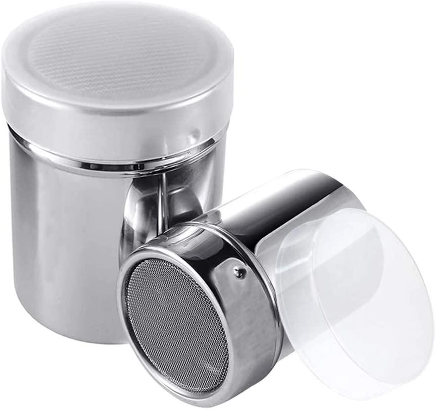 2 Size 304Stainless Steel Powder Sugar Shaker, Fine-Mesh Dredges Shaker, Pepper Salt Shaker with Lid, Seasoning Bottle for Cocoa, Cinnamon, Pepper, Flour (7.6OZ, 11.6OZ)