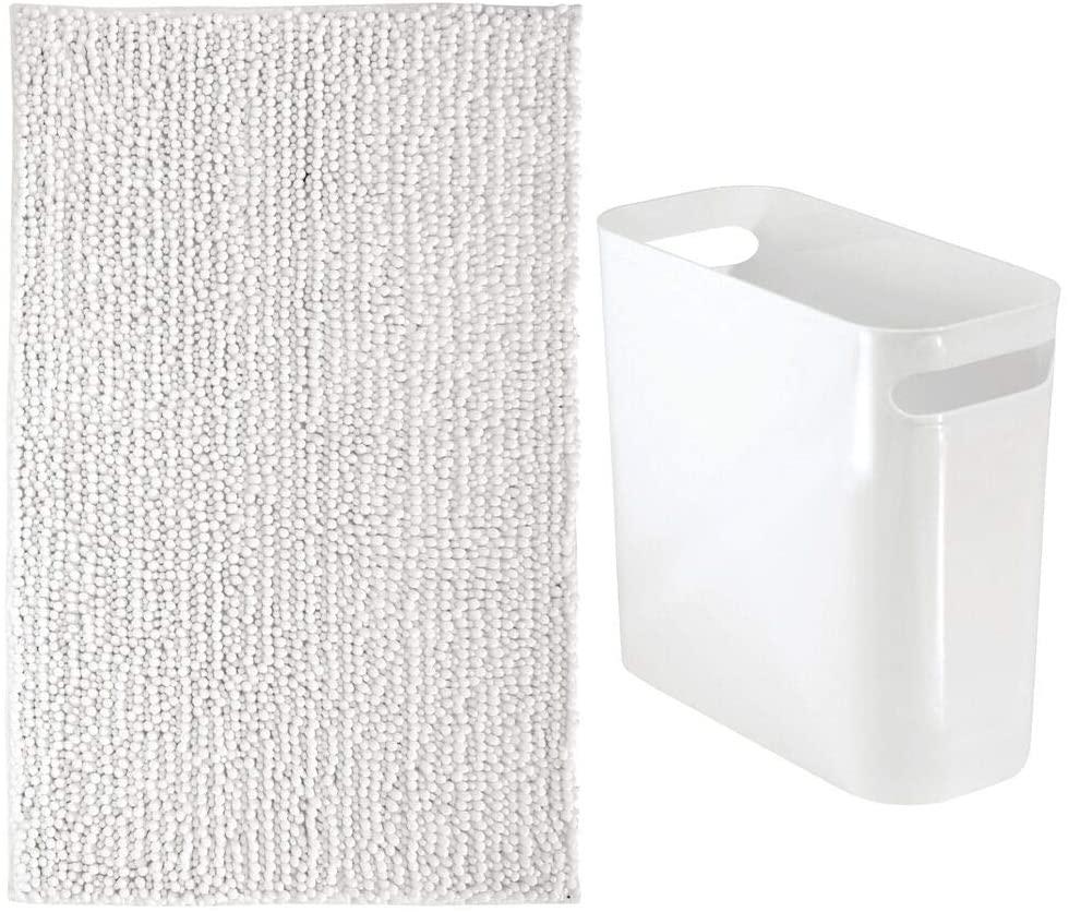 mDesign 2 Piece Decorative Bathroom Decor Set - Microfiber Non-Slip Bathroom Accent Rug and Wastebasket Trash Can - Solid Color - White