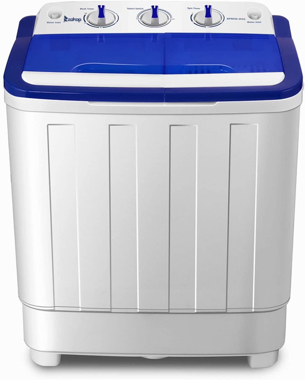 Meshin Portable Compact Mini Twin Tub Washing Machine,16Lbs Semi-Automatic Washing Machine,Built-in Gravity Drain,11lbs Capacity for Camping, Apartments and More