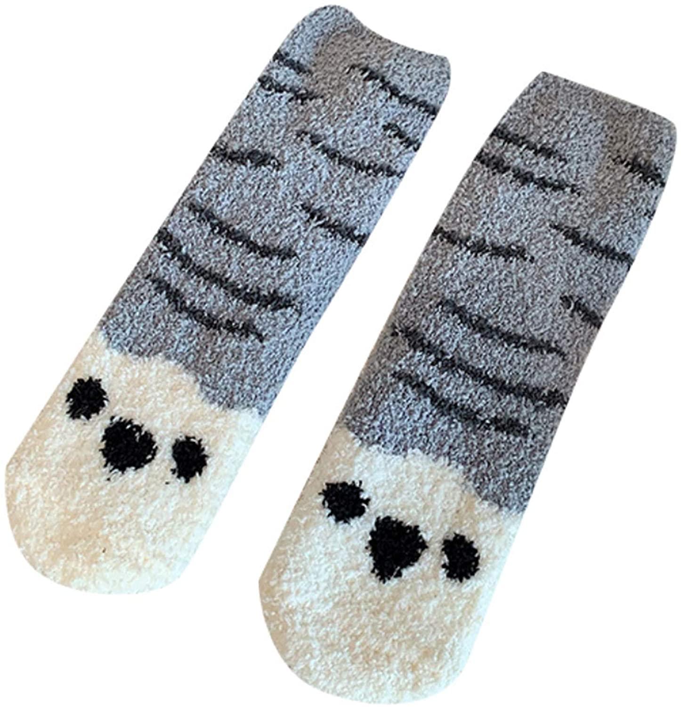 Vbiwwxos Women Thicken Fuzzy Warm Slipper Socks Cartoon Cat Paw Stripes Fluffy Hosiery