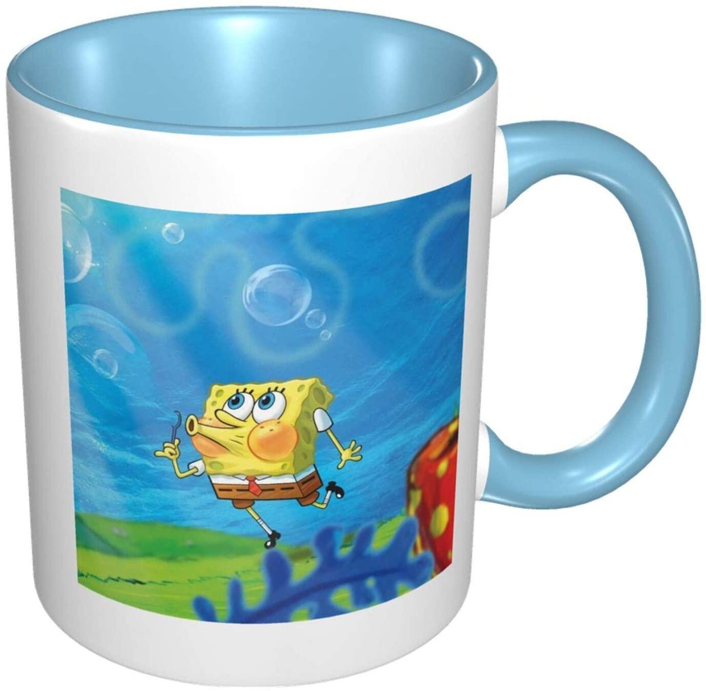 Coffee Mugs Sponge-Bob Square-Pants Spill Proof,Travel,Camping,Beer,Tea,Cute Funny Large Ceramic Big Cup Handwarmer Mug For Women And Men