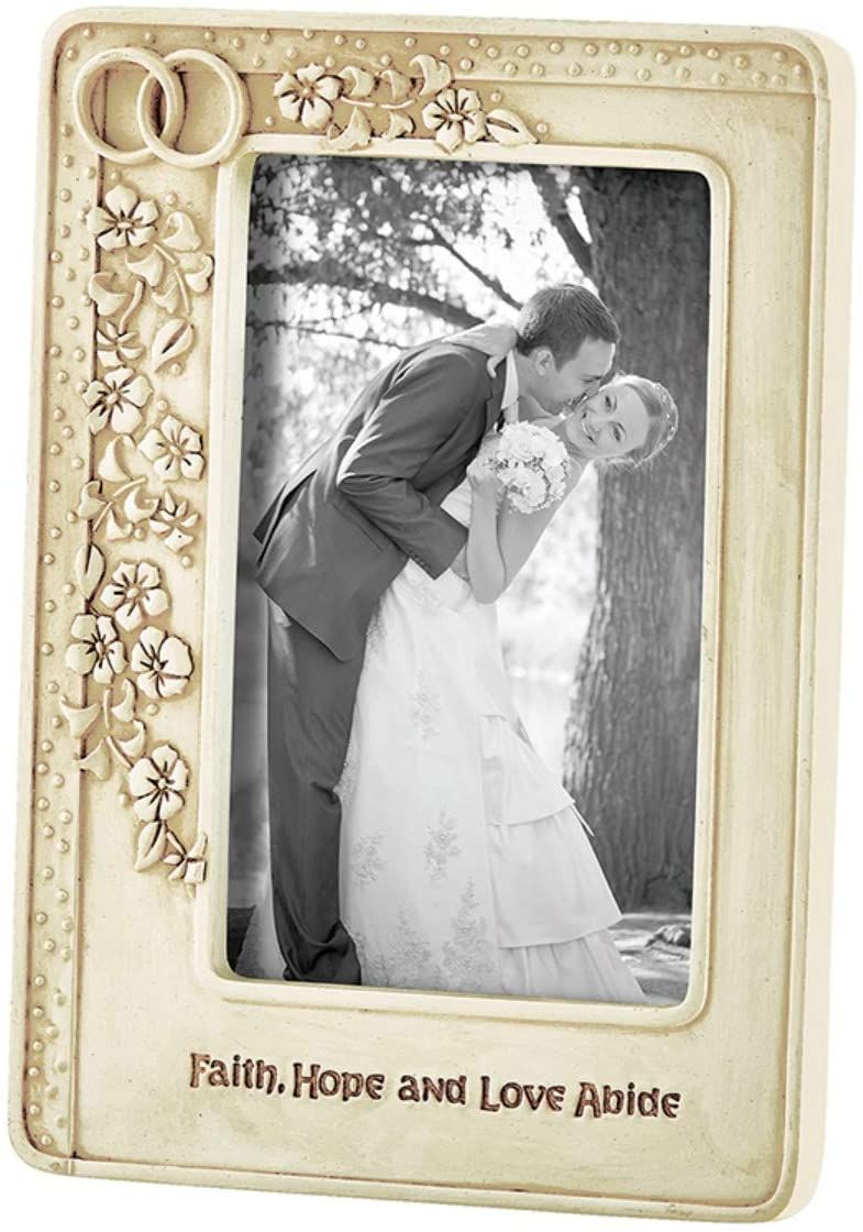 Off White Wedding Keepsake Picture Frame with Intertwined Rings and Flowers, 4