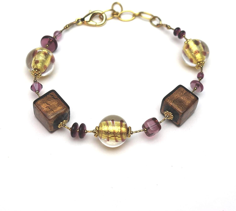 Murano Glass Fantasia Bracelet Amethyst Gold
