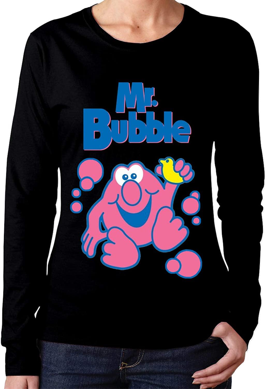 Milarois Mr Bubble Long Sleeve Shirts for Women Soft fit Black t Shirt