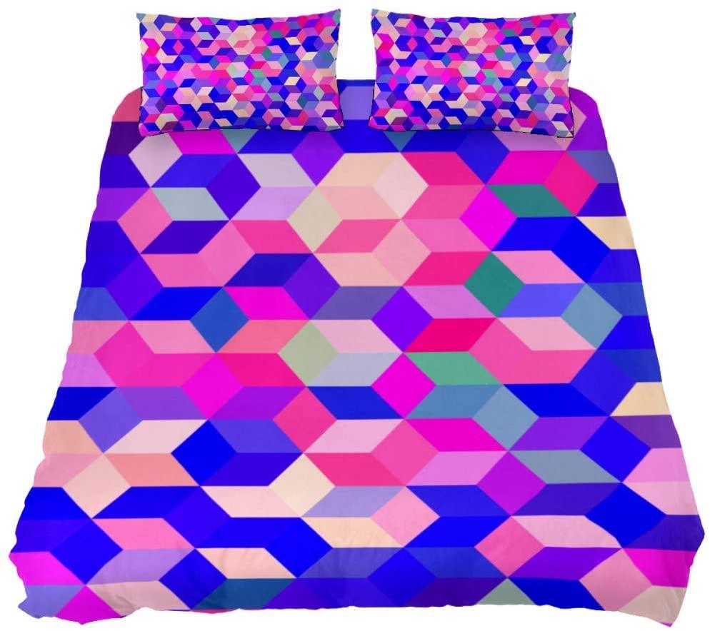 Queen Colored Cubes Bedding Duvet Cover 3 Piece Set,Ultra Soft Microfiber Duvet Cover and 2 Pillow Shams, Black,88x90