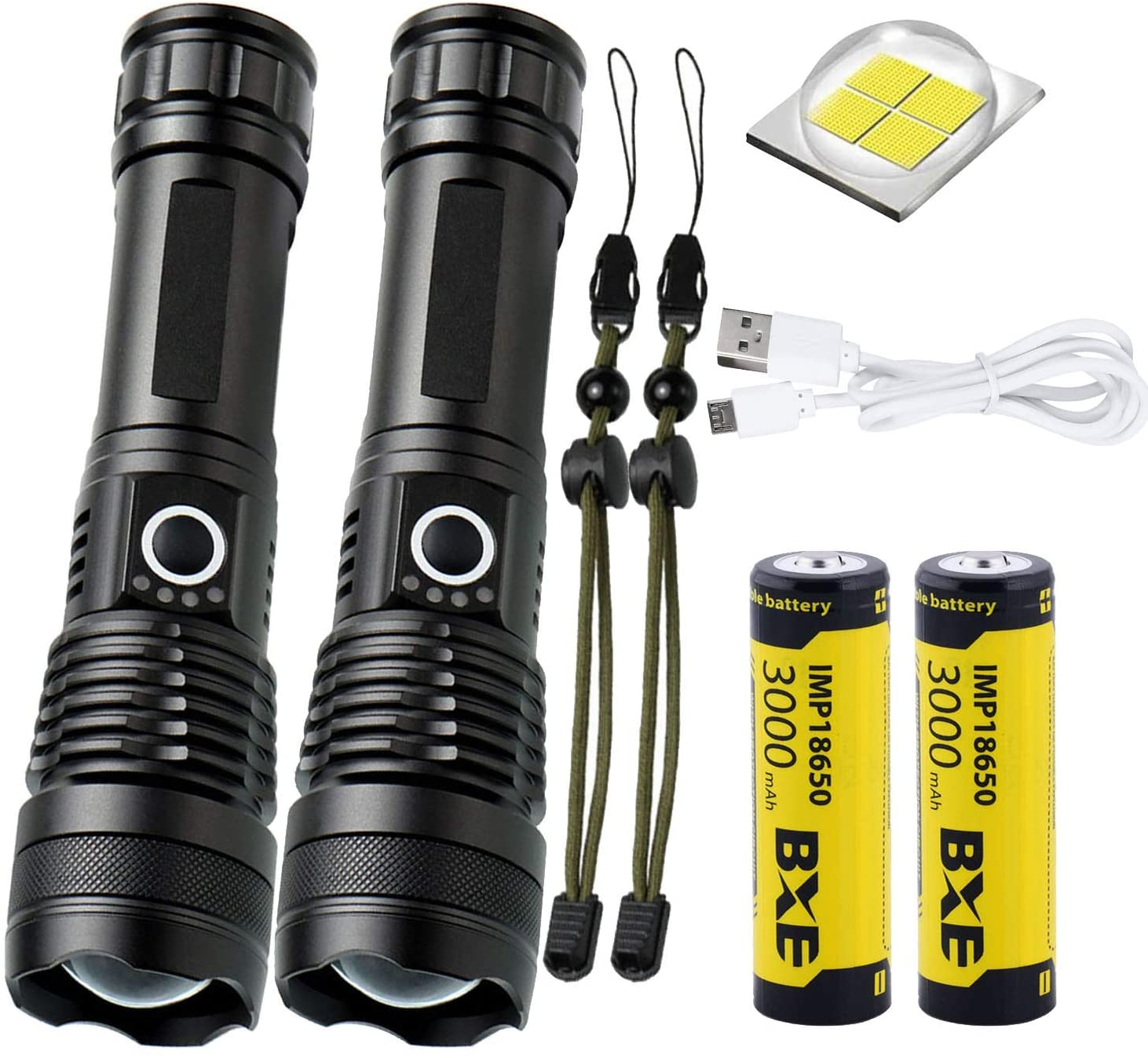 P50 2 LED Tactical Flashlights High Lumens,5 Modes,Rechargeable-5000 Lumens,Zoomable,Waterproof,Power Display,Handheld Light For Camping/Hiking/Running With 2 Batteries