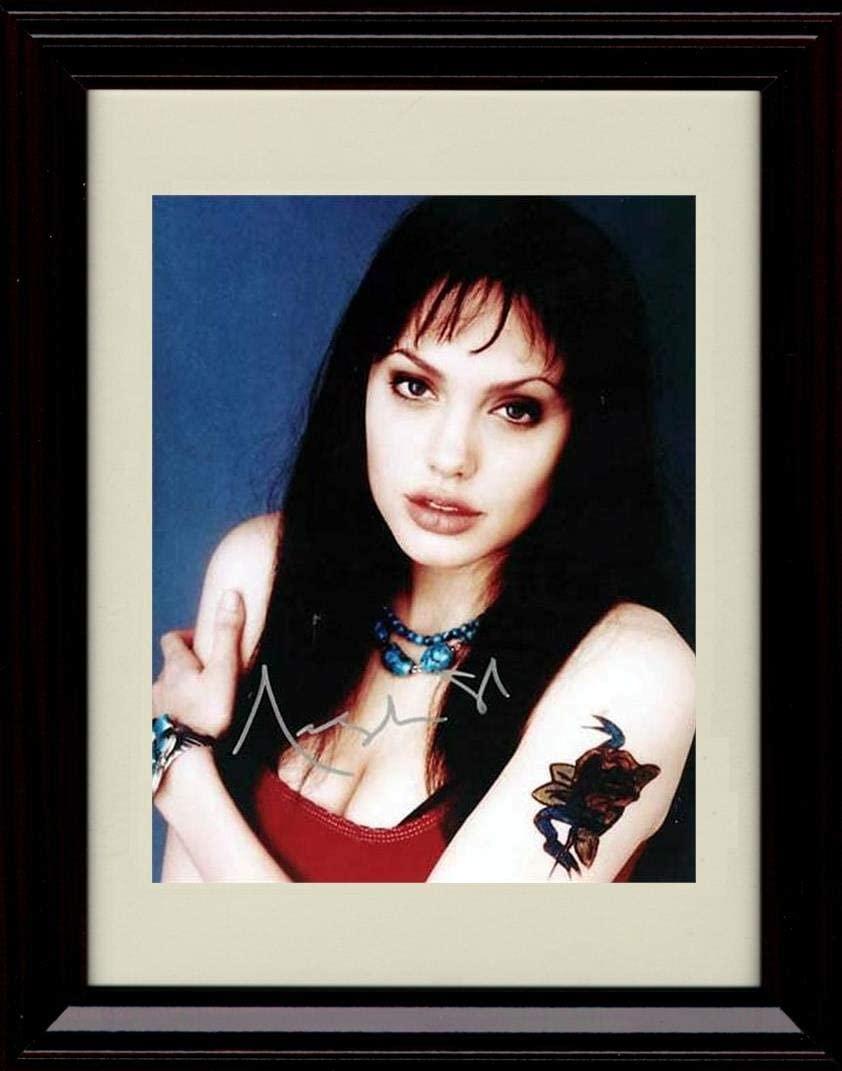 Framed Angelina Jolie Autograph Replica Print - Red Shirt