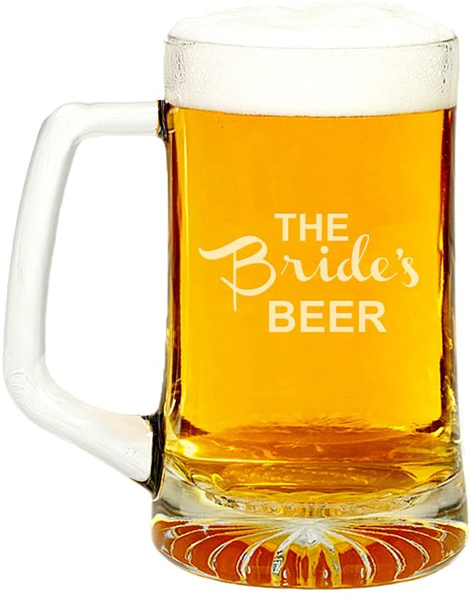 The Brides Beer Engraved Glass Beer Mug 15-ounce
