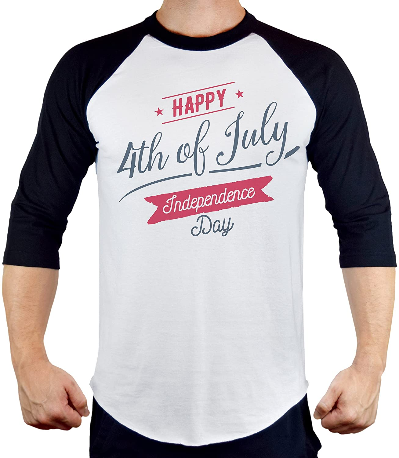 Men's Happy 4th of July Tee B916 PLY Raglan Baseball T-Shirt
