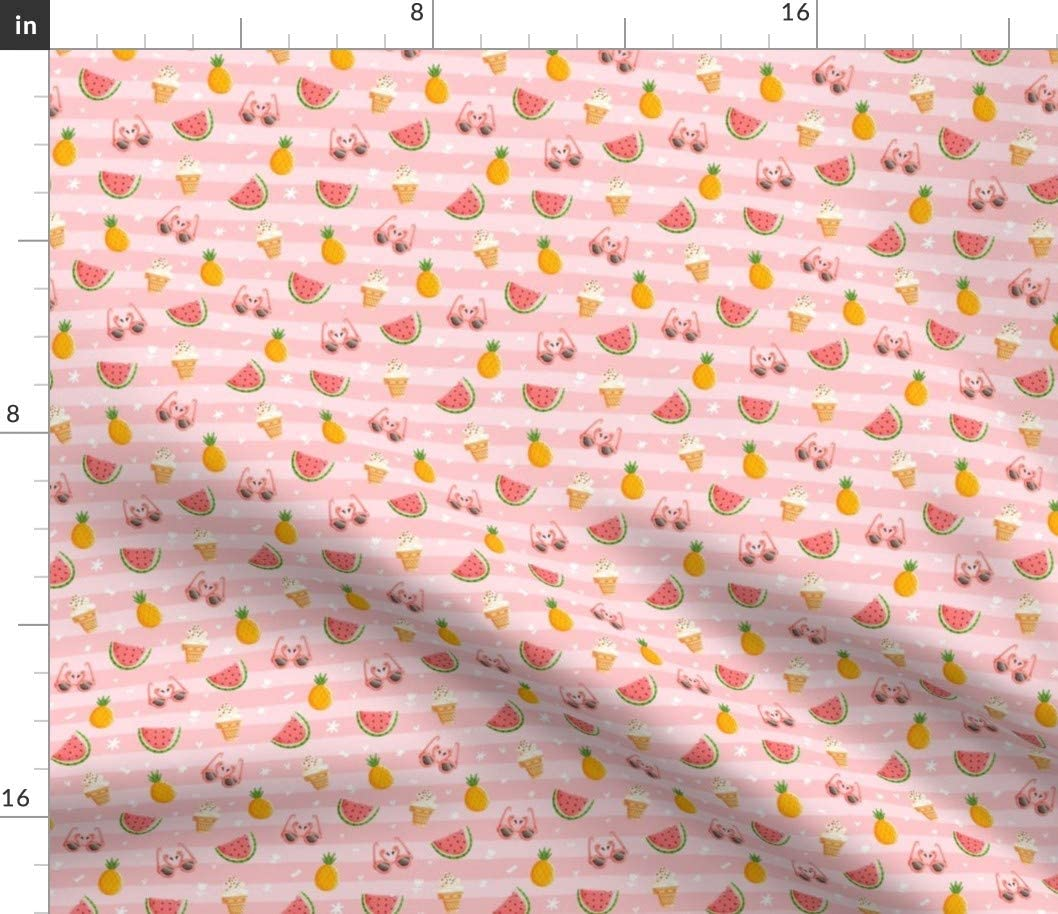 Spoonflower Fabric - Pink Summer Flamingo Ice Cream Stripes Pineapple Watermelon Printed on Minky Fabric by The Yard - Sewing Baby Blankets Quilt Backing Plush Toys