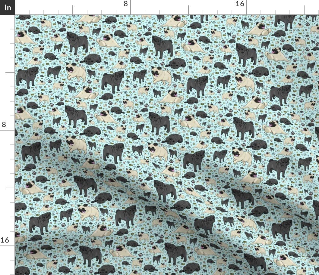 Spoonflower Fabric - Pug Life Pattern Print Dogs Cartoon Pet Puppy Cute Printed on Petal Signature Cotton Fabric by The Yard - Sewing Quilting Apparel Crafts Decor