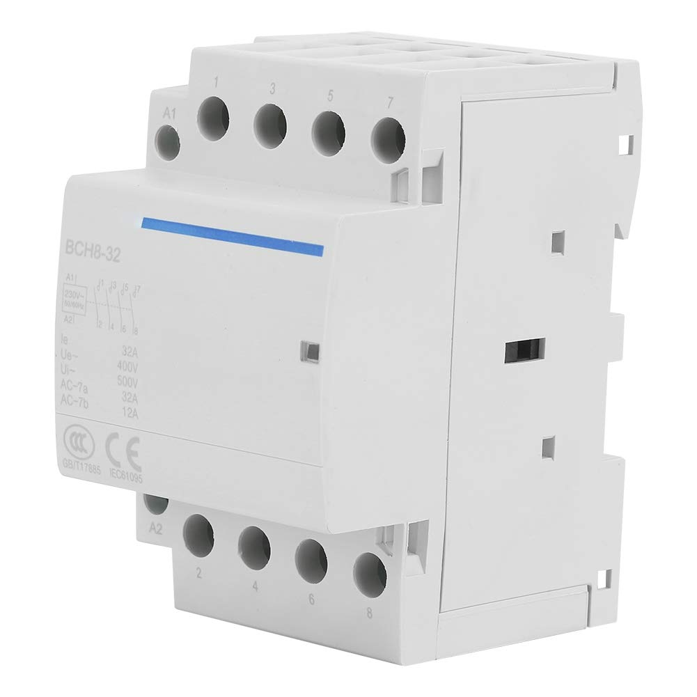 AC Contactor, 4P 32A 24V/230V 50/60Hz Household AC Contactor with 35mm DIN Rail Mount 2NO 2NC for Household Applications(AC230V)