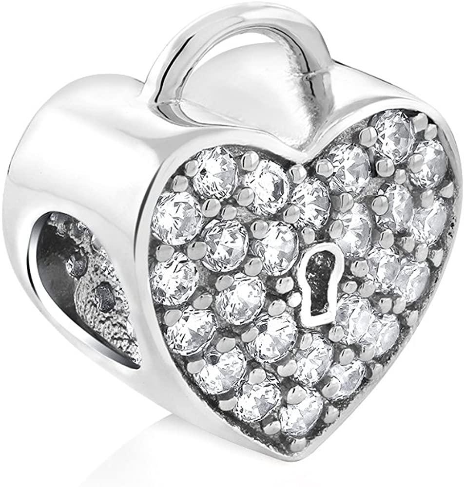 Gem Stone King Sterling Silver Heart Lock Cubic Zirconia 11X13MM Bead Charm Compatible W/Pandora Bracelets
