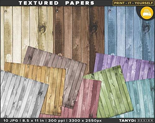 Generic - 8.5 x 11 Printable Papers - 10 JPG Print Set Colored Wood, Digital backgrounds, DIY Scrapbook Papers Prints, Photo overlays Textures