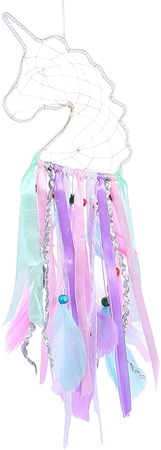 TOYANDONA Unicorn Dream Catcher with Lights Colorful LED Feather Dreamcathers Wall Hanging Decoration for Girls Christmas Baby Shower Unicorn Party Supplies Favors Gifts