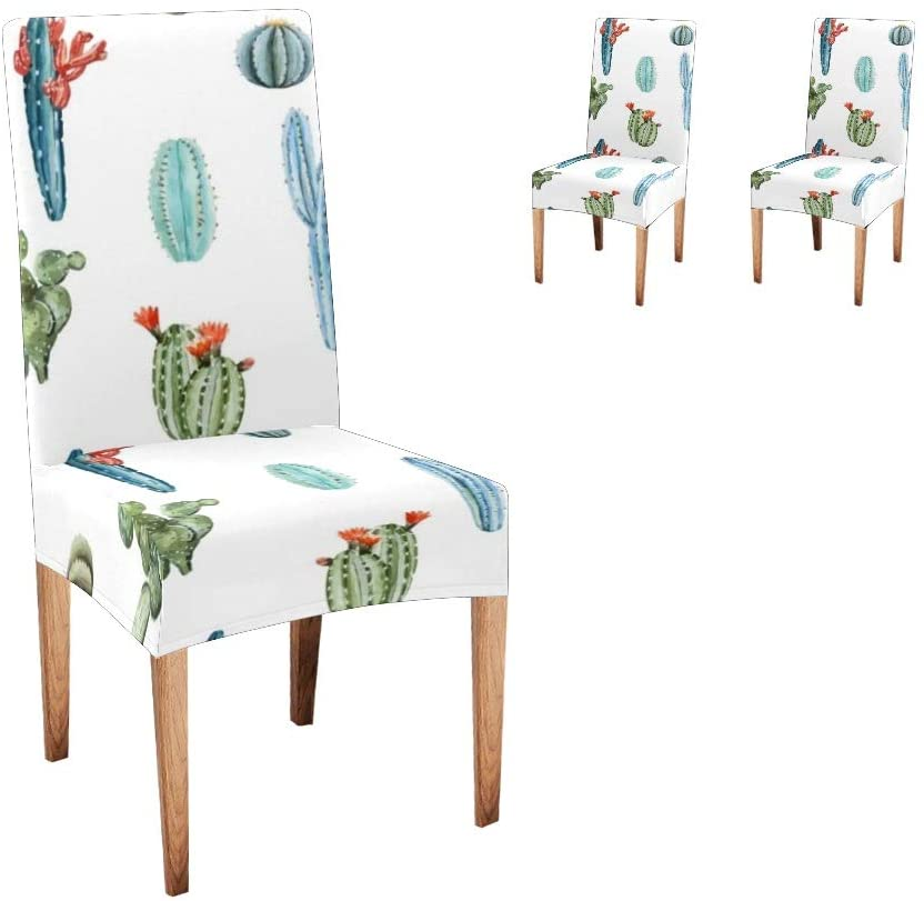 CUXWEOT Chair Covers for Dining Room Watercolor Tropical Cactus Vector Seat Covers Slipcovers for Party Decor (Set of 2)