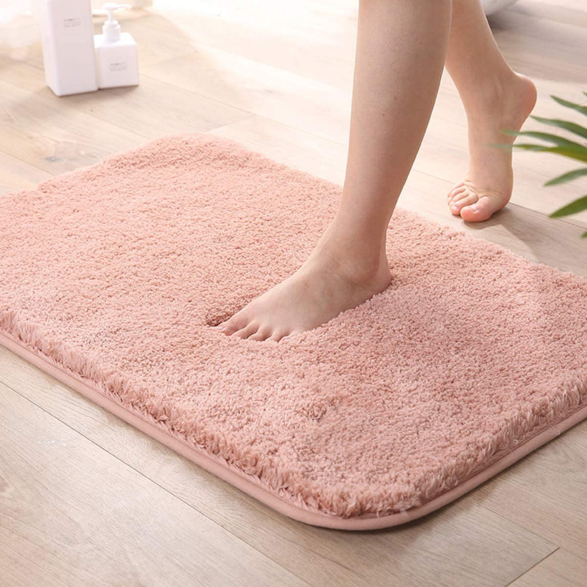 Fufengz Bathroom Carpet Mats, Super Soft and Absorbent Bathroom Carpets, Machine Wash/Dry Clothes, for Bathtubs, Showers and Bathrooms (36 24, Pink)