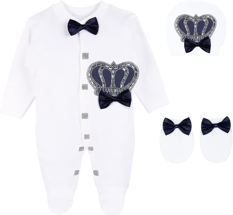 Lilax Baby Boy Newborn Crown Jewels Layette 3 Piece Gift Set 0-3 Months