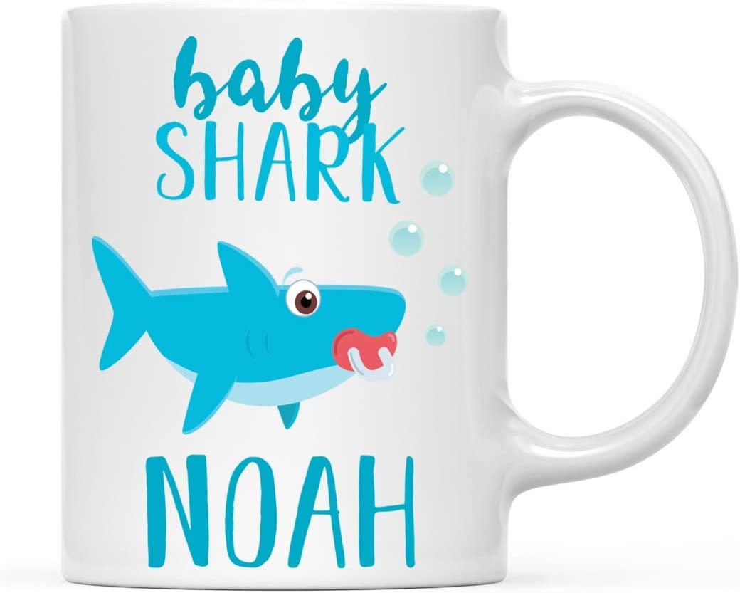 Andaz Press Personalized Name Baby Shark Family 11oz. Coffee Mug Gift, Baby Shark, 1-Pack, Custom Customizable Shark Do Do Do Gift Idea Birthday Christmas Gifts for Baby