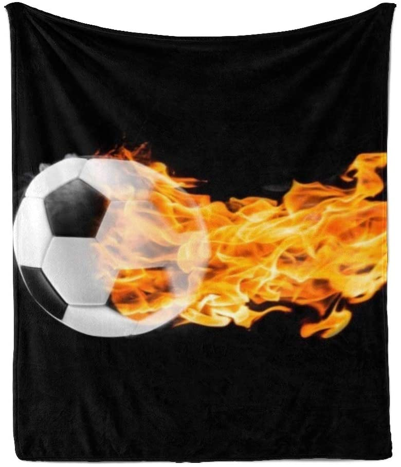 CUXWEOT Custom Super Soft Throw Blanket Fleece Blanket for Couch Sofa Bed Gift Fire Soccer Ball (50''X60'')
